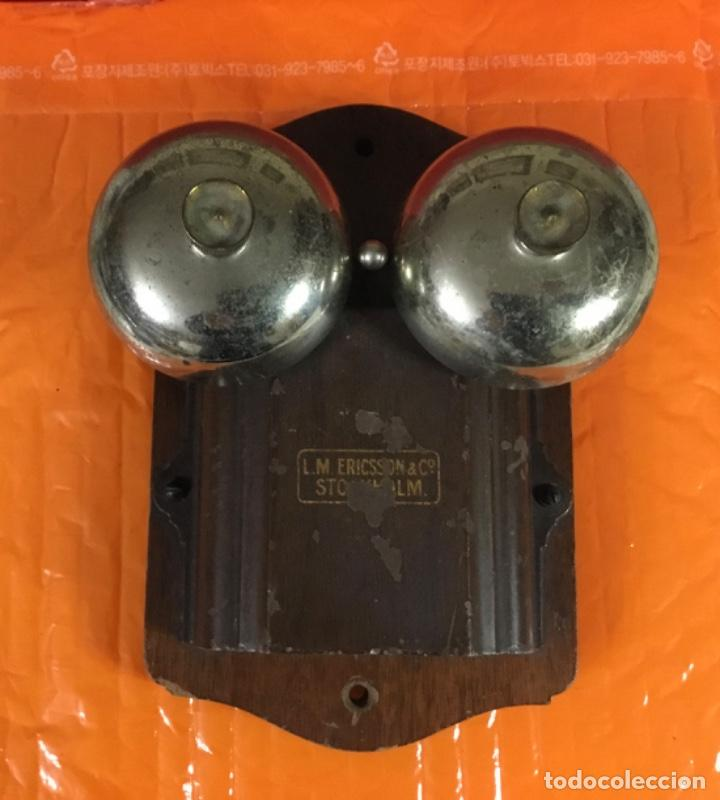 Teléfonos: Antiguo y excelente timbre madera y campanas, uso telefónico, original, de la casa sueca LM Ericsson - Foto 10 - 197401993