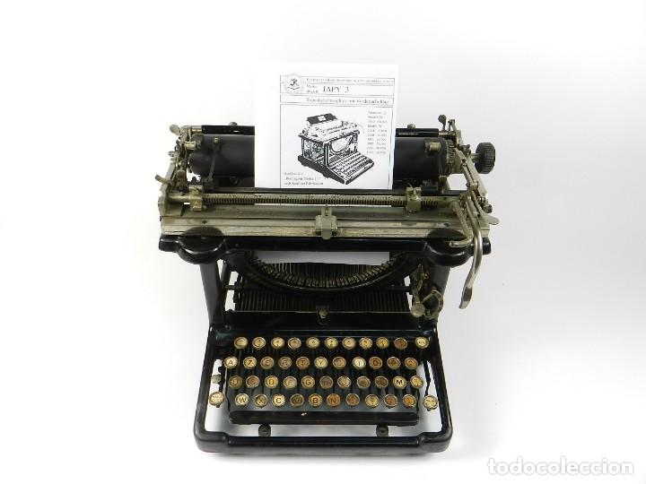 MAQUINA DE ESCRIBIR JAPY Nº3 AÑO 1921 CARRO EXTRAIBLE TYPEWRITER RECHENMASCHINE (Antigüedades - Técnicas - Máquinas de Escribir Antiguas - Otras)