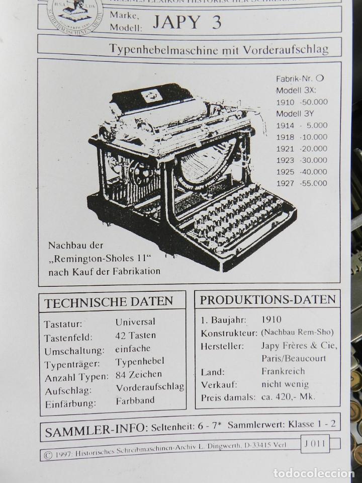 Antigüedades: MAQUINA DE ESCRIBIR JAPY Nº3 AÑO 1921 CARRO EXTRAIBLE TYPEWRITER RECHENMASCHINE - Foto 13 - 197447162