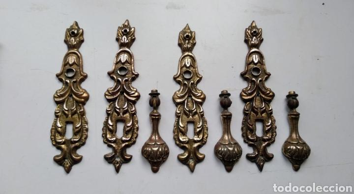 4 PLACAS TIRADORES ANTIGUOS (Antigüedades - Técnicas - Cerrajería y Forja - Tiradores Antiguos)