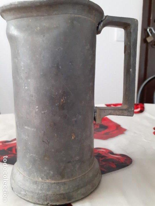 Antigüedades: Medida 1 litro estaño macizo - Foto 2 - 197809707