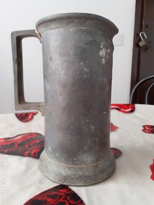 Antigüedades: Medida 1 litro estaño macizo - Foto 4 - 197809707