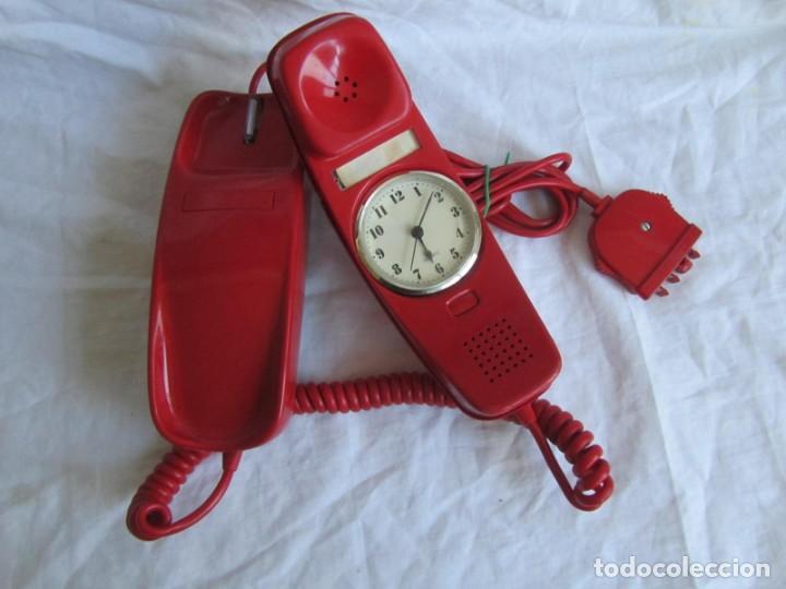 Teléfonos: Teléfono gondola rojo con reloj (funcionando) - Foto 2 - 198044857