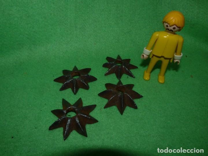 Antigüedades: Raro lote estrellas 8 puntas hierro forjado a mano adorno remate clavo portón madera XIX decoración - Foto 3 - 217194553
