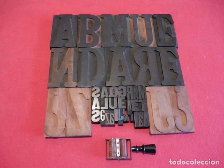 Antigüedades: CAJA CON LETRAS DE IMPRENTA DE MADERA DE FINALES XIX - PRINCIPIOS XX - Foto 8 - 198085600