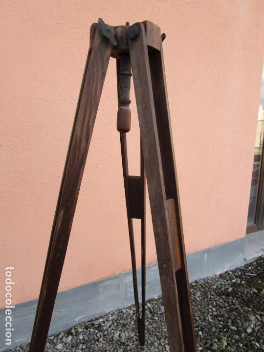 Antigüedades: Antiguo Trípode Militar Extensible, Madera de Roble - Aparatos Ópticos, Cámara Fotográfica -Original - Foto 13 - 198206511