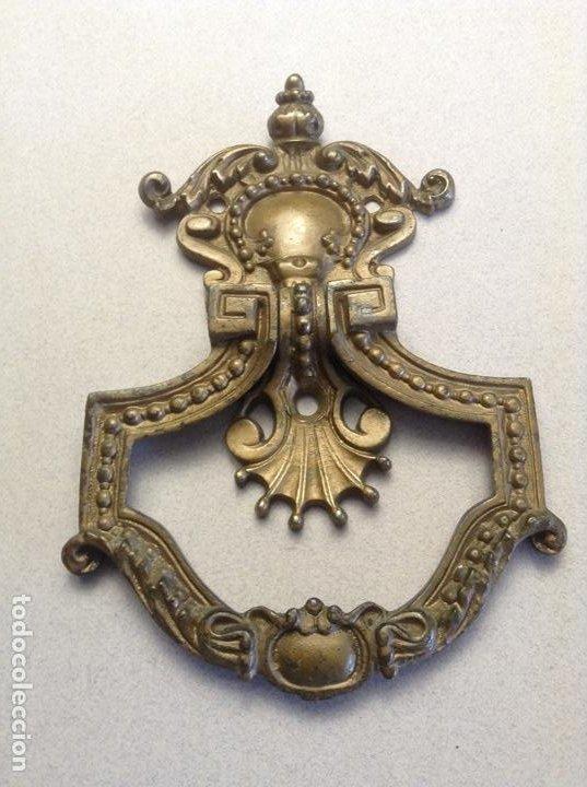 ANTIGUA ALDABA BRONCE (FINAL S.XIX) (Antigüedades - Técnicas - Cerrajería y Forja - Aldabas Antiguas)