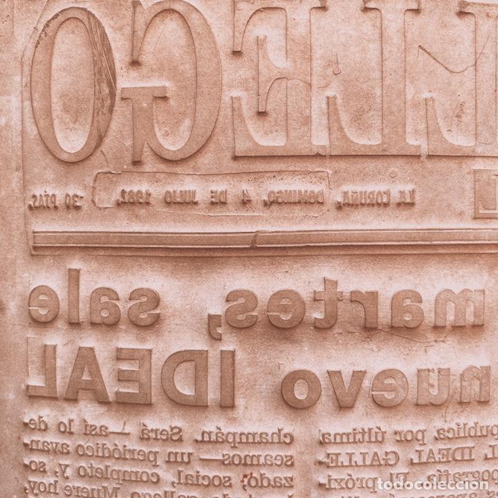 Antigüedades: Enorme Placa Industrial de Imprenta de periódico - Foto 2 - 181552761