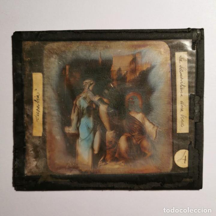 Antigüedades: ANTIGUO CRISTAL LINTERNA MAGICA RELIGIOSO SUPERBIA EL SANTO EVANGELIO PROYECCIONES BOSCH 10 X 8,5 CM - Foto 2 - 198593957