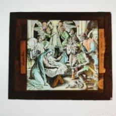 Antigüedades: ANTIGUO CRISTAL LINTERNA MAGICA RELIGIOSO SUPERBIA EL SANTO EVANGELIO PROYECCIONES BOSCH 10 X 8,5 CM. Lote 198594015