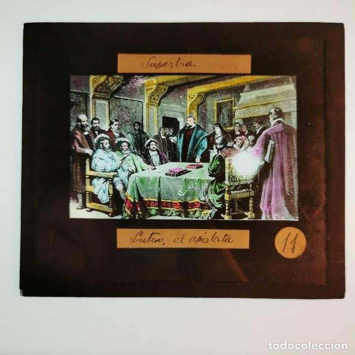 ANTIGUO CRISTAL LINTERNA MAGICA RELIGIOSO - SUPERBIA - LUTERO - PROYECCIONES BOSCH - 10 X 8,5 CM (Antigüedades - Técnicas - Aparatos de Cine Antiguo - Linternas Mágicas Antiguas)