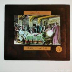 Antigüedades: ANTIGUO CRISTAL LINTERNA MAGICA RELIGIOSO - SUPERBIA - LUTERO - PROYECCIONES BOSCH - 10 X 8,5 CM. Lote 198594172
