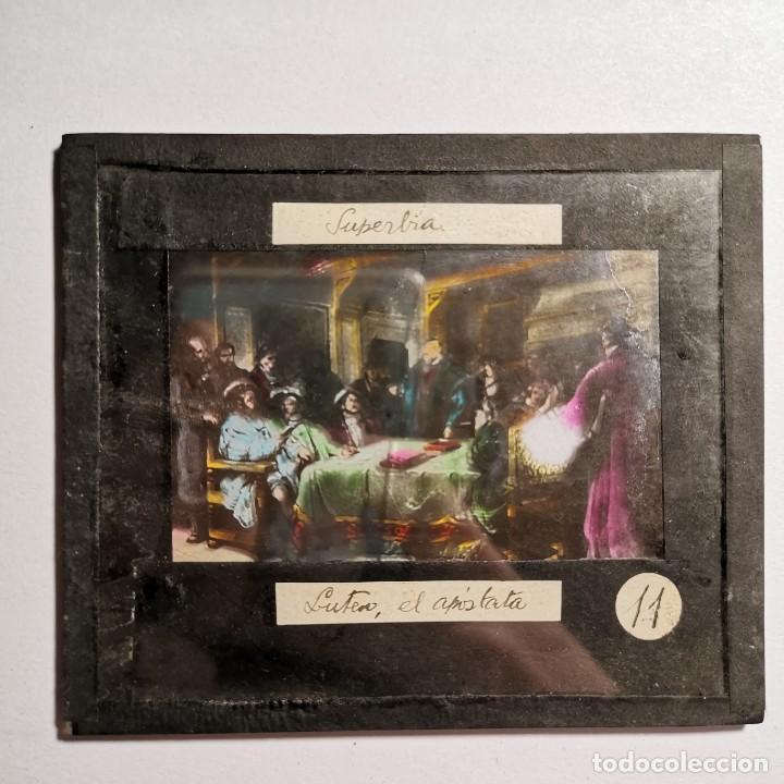 Antigüedades: ANTIGUO CRISTAL LINTERNA MAGICA RELIGIOSO - SUPERBIA - LUTERO - PROYECCIONES BOSCH - 10 X 8,5 CM - Foto 2 - 198594172