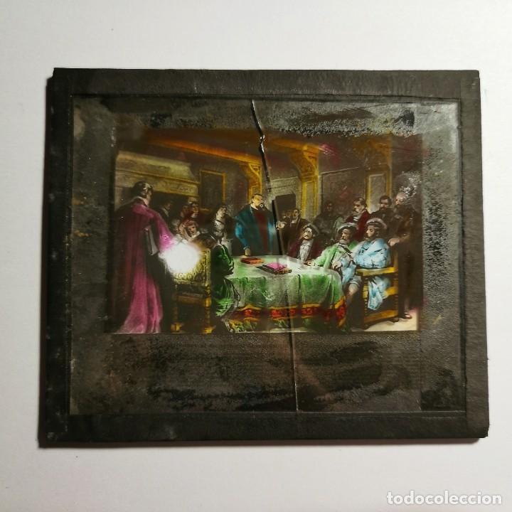 Antigüedades: ANTIGUO CRISTAL LINTERNA MAGICA RELIGIOSO - SUPERBIA - LUTERO - PROYECCIONES BOSCH - 10 X 8,5 CM - Foto 3 - 198594172