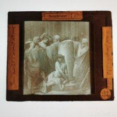Antigüedades: ANTIGUO CRISTAL LINTERNA MAGICA RELIGIOSO - PASIÓN CRISTO - PROYECCIONES BOSCH - 10 X 8,5 CM. Lote 198594275