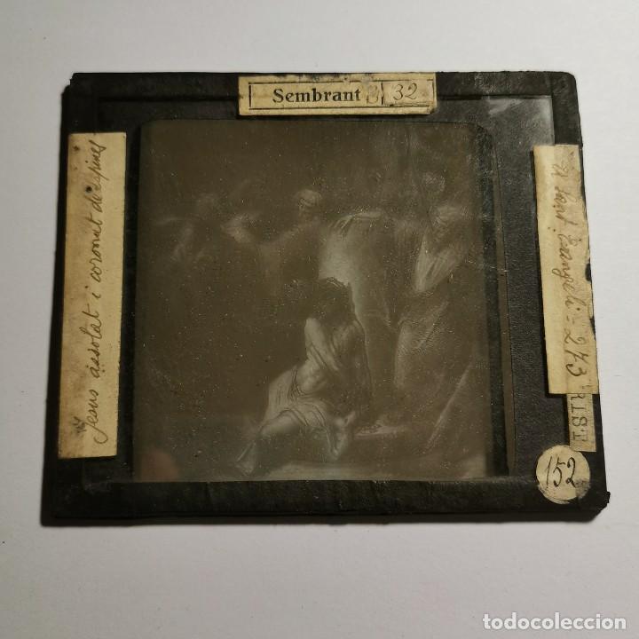 Antigüedades: ANTIGUO CRISTAL LINTERNA MAGICA RELIGIOSO - PASIÓN CRISTO - PROYECCIONES BOSCH - 10 X 8,5 CM - Foto 2 - 198594275