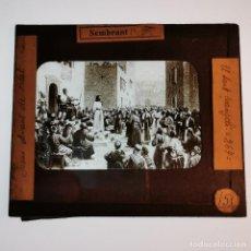 Antigüedades: ANTIGUO CRISTAL LINTERNA MAGICA RELIGIOSO - EL SANTO EVANGELIO - PROYECCIONES BOSCH - 10 X 8,5 CM. Lote 198594316