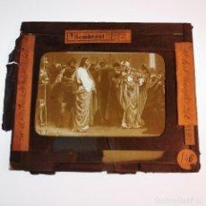 Antigüedades: ANTIGUO CRISTAL LINTERNA MAGICA RELIGIOSO - EL SANTO EVANGELIO - PROYECCIONES BOSCH - 10 X 8,5 CM. Lote 198594348