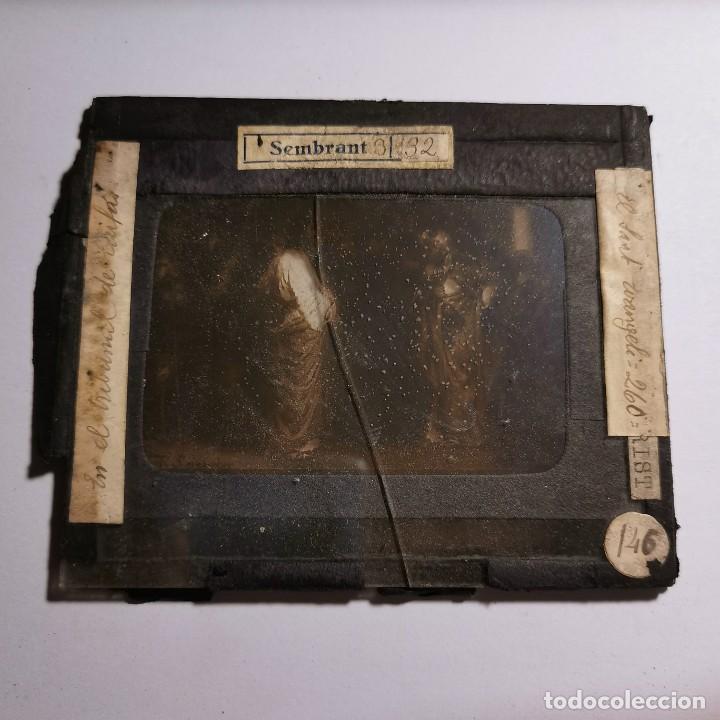 Antigüedades: ANTIGUO CRISTAL LINTERNA MAGICA RELIGIOSO - EL SANTO EVANGELIO - PROYECCIONES BOSCH - 10 X 8,5 CM - Foto 2 - 198594348