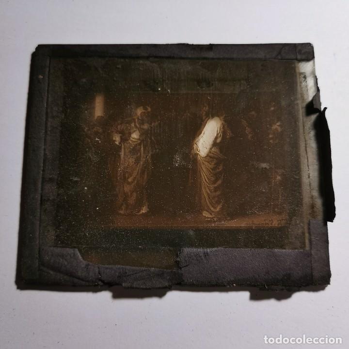 Antigüedades: ANTIGUO CRISTAL LINTERNA MAGICA RELIGIOSO - EL SANTO EVANGELIO - PROYECCIONES BOSCH - 10 X 8,5 CM - Foto 3 - 198594348