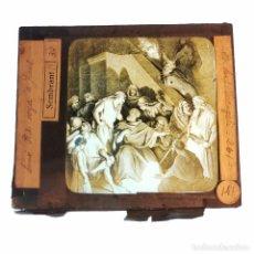 Antigüedades: ANTIGUO CRISTAL LINTERNA MAGICA RELIGIOSO - EL SANTO EVANGELIO - PROYECCIONES BOSCH - 10 X 8,5 CM. Lote 198594401
