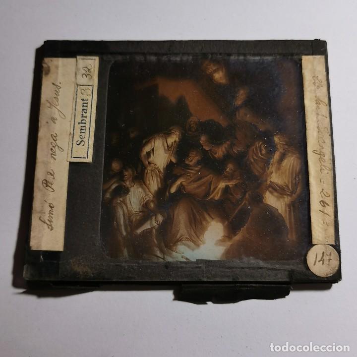 Antigüedades: ANTIGUO CRISTAL LINTERNA MAGICA RELIGIOSO - EL SANTO EVANGELIO - PROYECCIONES BOSCH - 10 X 8,5 CM - Foto 2 - 198594401