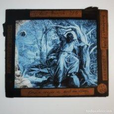 Antigüedades: ANTIGUO CRISTAL LINTERNA MAGICA RELIGIOSO - EL SANTO EVANGELIO - PROYECCIONES BOSCH - 10 X 8,5 CM. Lote 198594435