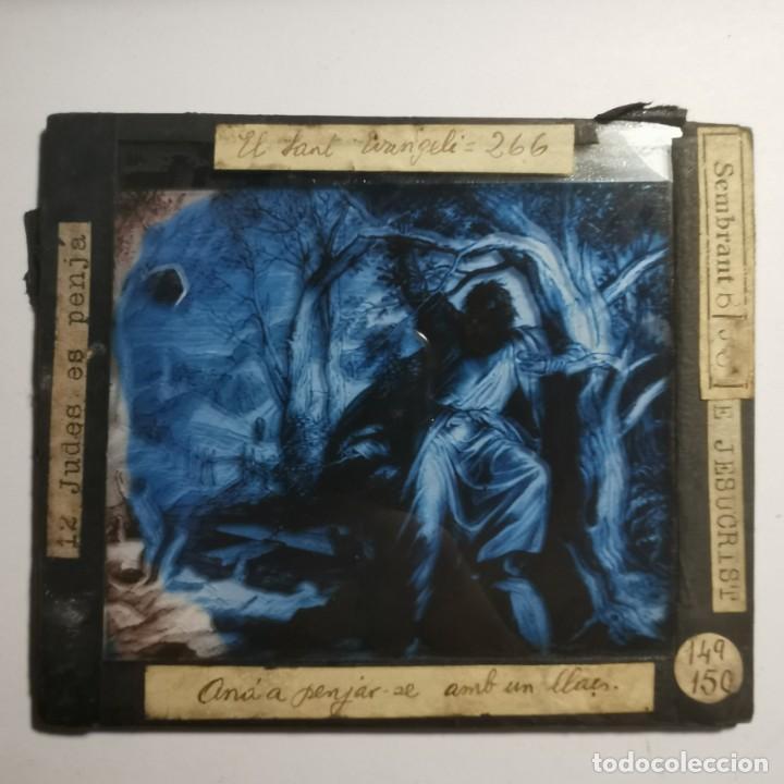 Antigüedades: ANTIGUO CRISTAL LINTERNA MAGICA RELIGIOSO - EL SANTO EVANGELIO - PROYECCIONES BOSCH - 10 X 8,5 CM - Foto 2 - 198594435