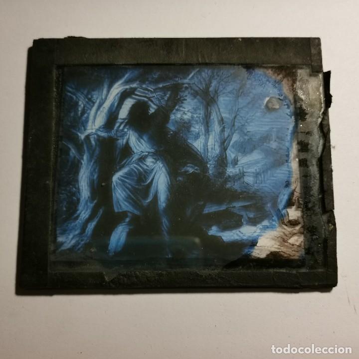 Antigüedades: ANTIGUO CRISTAL LINTERNA MAGICA RELIGIOSO - EL SANTO EVANGELIO - PROYECCIONES BOSCH - 10 X 8,5 CM - Foto 3 - 198594435