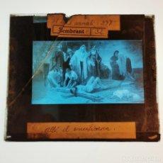 Antigüedades: ANTIGUO CRISTAL LINTERNA MAGICA RELIGIOSO - EL SANTO EVANGELIO - PROYECCIONES BOSCH - 10 X 8,5 CM. Lote 198594580