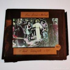 Antigüedades: ANTIGUO CRISTAL LINTERNA MAGICA RELIGIOSO - EL SANTO EVANGELIO - PROYECCIONES BOSCH - 10 X 8,5 CM. Lote 198594742
