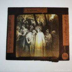 Antigüedades: ANTIGUO CRISTAL LINTERNA MAGICA RELIGIOSO - EL SANTO EVANGELIO - PROYECCIONES BOSCH - 10 X 8,5 CM. Lote 198594763
