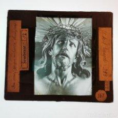Antigüedades: ANTIGUO CRISTAL LINTERNA MAGICA RELIGIOSO CRISTO PASO SEMANA SANTA SEVILLA SANTO EVANGELIO 10X8,5 CM. Lote 198595040