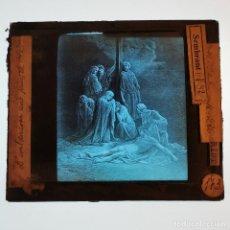 Antigüedades: ANTIGUO CRISTAL LINTERNA MAGICA RELIGIOSO - PASIÓN DE CRISTO - PROYECCIONES BOSCH - 10X8,5 CM. Lote 198595136