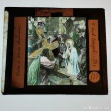 Antigüedades: ANTIGUO CRISTAL LINTERNA MAGICA RELIGIOSO - EL SANTO EVANGELIO - PROYECCIONES BOSCH - 10 X 8,5 CM. Lote 198596617