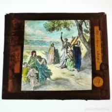 Antigüedades: ANTIGUO CRISTAL LINTERNA MAGICA RELIGIOSO GOLA EL SANTO EVANGELIO - PROYECCIONES BOSCH - 10 X 8,5 CM. Lote 198596790