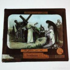 Antigüedades: ANTIGUO CRISTAL LINTERNA MAGICA RELIGIOSO - EL SANTO EVANGELIO - PROYECCIONES BOSCH - 10 X 8,5 CM. Lote 198597066