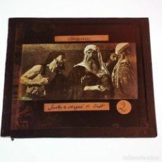 Antigüedades: ANTIGUO CRISTAL LINTERNA MAGICA RELIGIOSO AVARICIA EL SANTO EVANGELIO PROYECCIONES BOSCH 10 X 8,5 CM. Lote 198597136