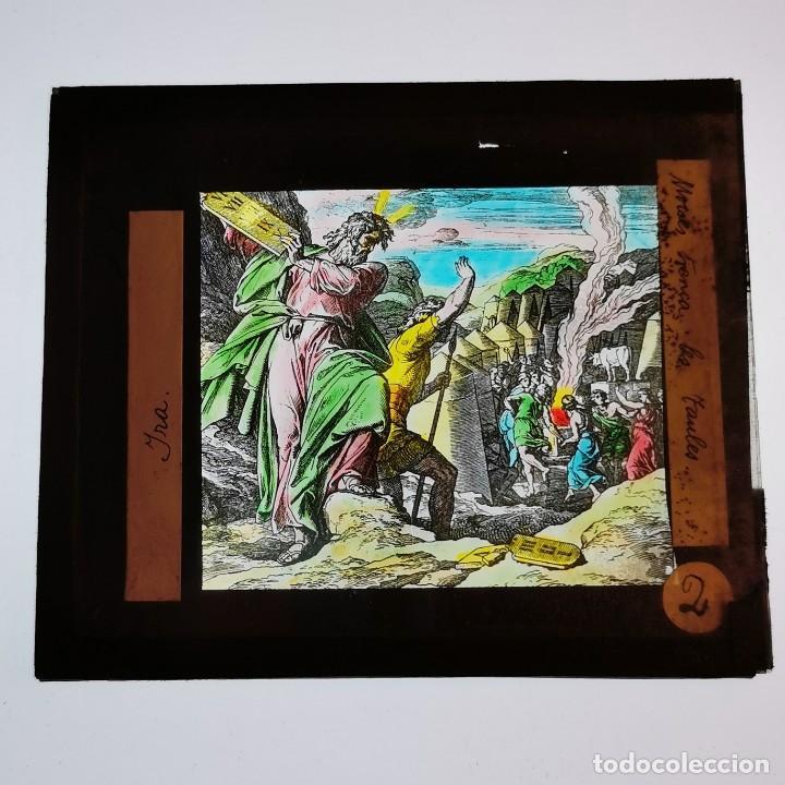 ANTIGUO CRISTAL LINTERNA MAGICA RELIGIOSO IRA MOISÉS ROMPE LAS TABLAS PROYECCIONES BOSCH 10 X 8,5 CM (Antigüedades - Técnicas - Aparatos de Cine Antiguo - Linternas Mágicas Antiguas)
