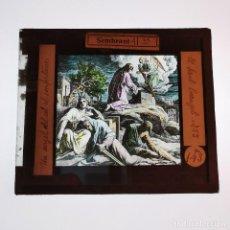 Antigüedades: ANTIGUO CRISTAL LINTERNA MAGICA RELIGIOSO - EL SANTO EVANGELIO - PROYECCIONES BOSCH - 10 X 8,5 CM. Lote 198597546