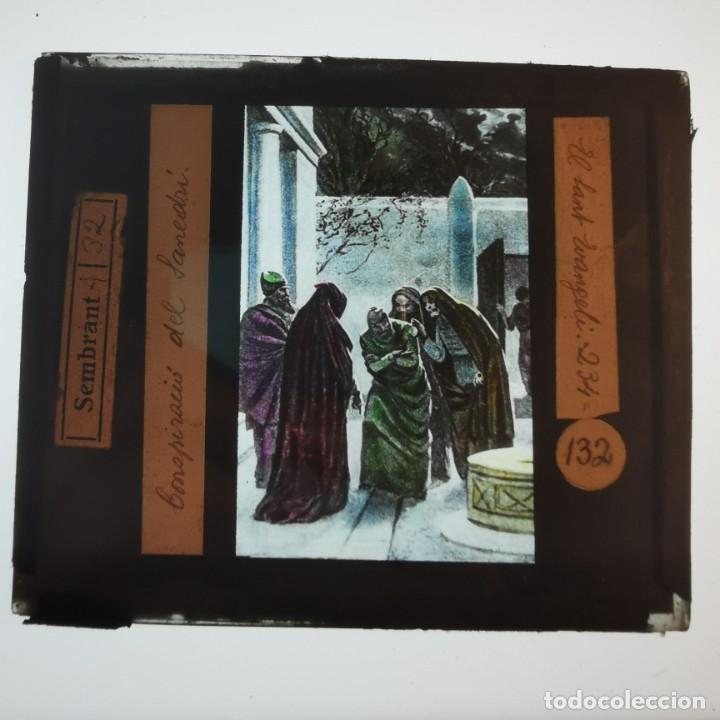 ANTIGUO CRISTAL LINTERNA MAGICA RELIGIOSO - EL SANTO EVANGELIO - PROYECCIONES BOSCH - 10 X 8,5 CM (Antigüedades - Técnicas - Aparatos de Cine Antiguo - Linternas Mágicas Antiguas)