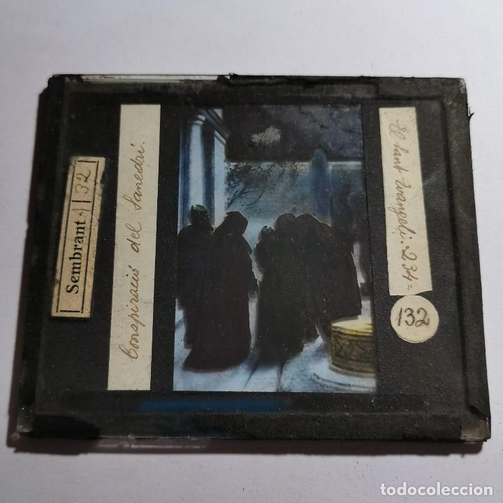 Antigüedades: ANTIGUO CRISTAL LINTERNA MAGICA RELIGIOSO - EL SANTO EVANGELIO - PROYECCIONES BOSCH - 10 X 8,5 CM - Foto 2 - 198597996