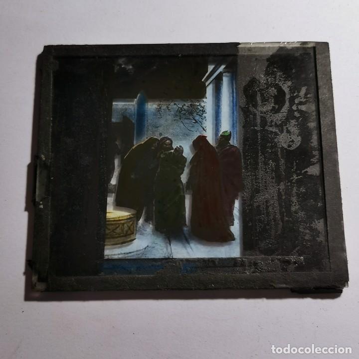 Antigüedades: ANTIGUO CRISTAL LINTERNA MAGICA RELIGIOSO - EL SANTO EVANGELIO - PROYECCIONES BOSCH - 10 X 8,5 CM - Foto 3 - 198597996