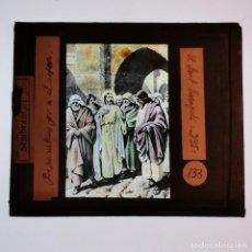 Antigüedades: ANTIGUO CRISTAL LINTERNA MAGICA RELIGIOSO - EL SANTO EVANGELIO - PROYECCIONES BOSCH - 10 X 8,5 CM. Lote 198598043
