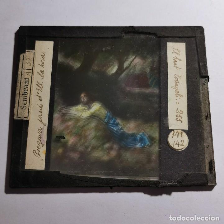 Antigüedades: ANTIGUO CRISTAL LINTERNA MAGICA RELIGIOSO - EL SANTO EVANGELIO - PROYECCIONES BOSCH - 10 X 8,5 CM - Foto 2 - 198598072