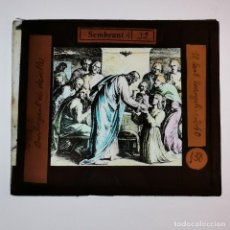 Antigüedades: ANTIGUO CRISTAL LINTERNA MAGICA RELIGIOSO - EL SANTO EVANGELIO - PROYECCIONES BOSCH - 10 X 8,5 CM. Lote 198598103