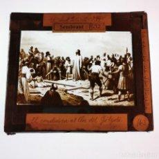 Antigüedades: ANTIGUO CRISTAL LINTERNA MAGICA RELIGIOSO - LA PASIÓN DE CRISTO - PROYECCIONES BOSCH - 10 X 8,5 CM. Lote 198598217
