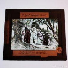 Antigüedades: ANTIGUO CRISTAL LINTERNA MAGICA RELIGIOSO - EL SANTO EVANGELIO - PROYECCIONES BOSCH - 10 X 8,5 CM. Lote 198598335