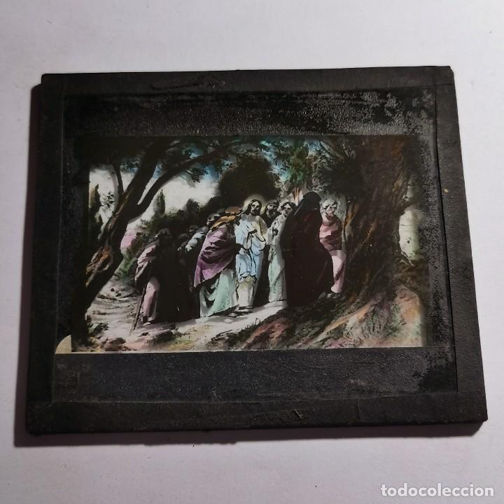 Antigüedades: ANTIGUO CRISTAL LINTERNA MAGICA RELIGIOSO - EL SANTO EVANGELIO - PROYECCIONES BOSCH - 10 X 8,5 CM - Foto 3 - 198598335