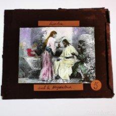 Antigüedades: ANTIGUO CRISTAL LINTERNA MAGICA RELIGIOSO SUPERBIA EL SANTO EVANGELIO PROYECCIONES BOSCH 10 X 8,5 CM. Lote 198598401